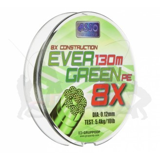 Asso Šňůra Evergreen 8-Braid 130m 0,18 mm